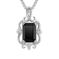 Emerald Cut Black Sapphire and Diamond Pendant (18 in.)