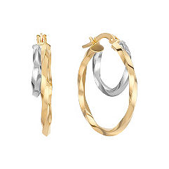 Two-Tone Hoop Earrings with Textured Finish