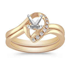 Half Heart Swirl Diamond Wedding Set with Pavé Setting in Yellow Gold