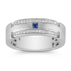 Round Sapphire and Diamond Wedding Band for Her