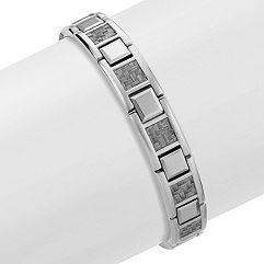 Stainless Steel Bracelet with Tungsten and Carbon Fiber Accents (8.5 in.)