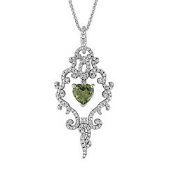 Heart-Shaped Green Sapphire and Round Diamond Pendant (18)