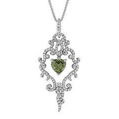 Heart-Shaped Green Sapphire and Round Diamond Pendant (18)