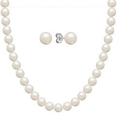 6.5mm Cultured Freshwater Pearl Necklace and Earrings Set in Sterling Silver (24 in.)