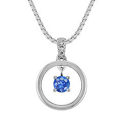 Kentucky Blue Sapphire and Diamond Circle Pendant in Sterling Silver (18 in.)