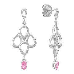Oval Pink Sapphire Earrings in Sterling Silver