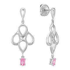 Oval Pink Sapphire Earrings in Sterling Silver