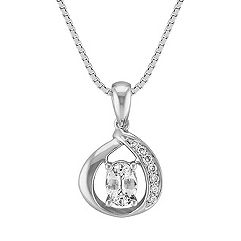 Twisted Loop White Sapphire and Diamond Pendant in Sterling Silver (18 in.)
