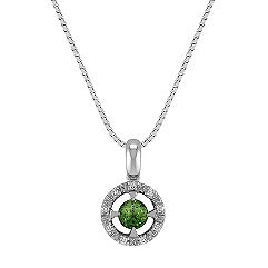 Round Green Sapphire and Diamond Halo Pendant (18 in.)