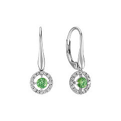 Green Sapphire and Diamond Leverback Earrings