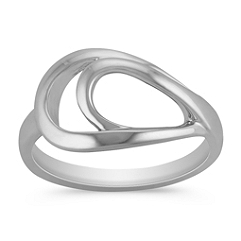Sideways Double Teardrop Ring in Sterling Silver