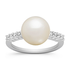 10mm Cultured South Sea Pearl and Diamond Ring