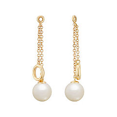 6.5mm Cultured Freshwater Pearl and Gold Circle Earring Jacket