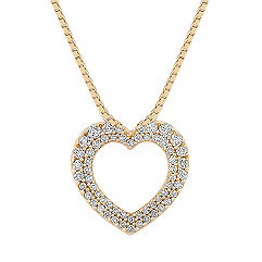 Round Diamond Heart Pendant with Pave Setting (18 in.)