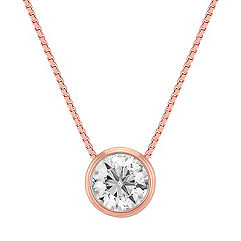 Solitaire Bezel-Set Diamond Pendant in 14k Rose Gold (18 in.)