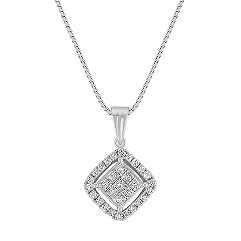 Princess Cut and Round Diamond Cluster Pendant (18 in.)