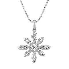 Flower Diamond Pendant in Sterling Silver (18 in.)