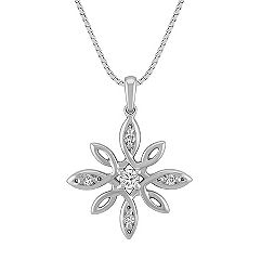 Flower Diamond Pendant in Sterling Silver (18)