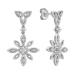 Floral Sterling Silver and Diamond Earrings