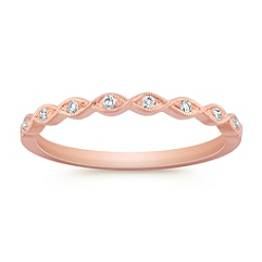 Round Diamond Twist Ring in Rose Gold with Pave Setting