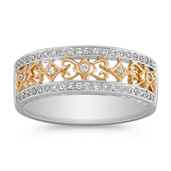 Antique Diamond Ring in Two-Tone Gold with Pave Setting