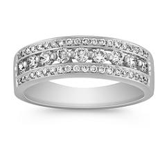 Round Diamond Platinum Ring with Pave Setting