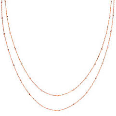 14k Rose Gold Wheat Chain with Stations (36 in.)