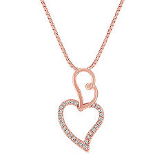Diamond Double Heart Pendant in Rose Gold (18 in.)