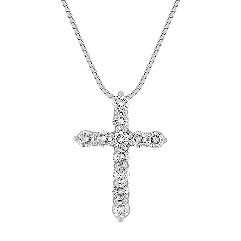 Pave-Set Round Diamond Cross Pendant (18 in.)