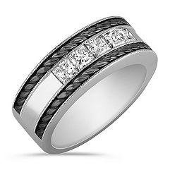 Princess Cut Diamond Men's Ring with Black Rhodium