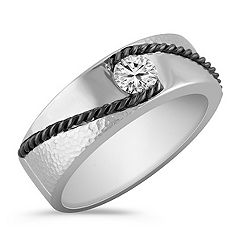 Diamond Ring with Black Rhodium and Hammered Finishes
