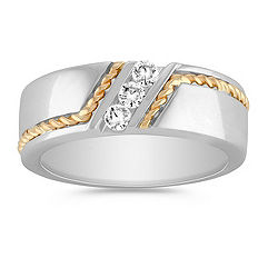 Channel-Set Diamond Ring in Two-Tone Gold