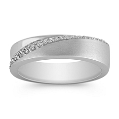 Round Diamond Wedding Band with Pavé Setting for Her