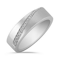 Round Diamond Wedding Band with Pavé Setting for Him