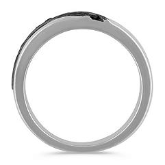 Round Black Sapphire Wedding Band with Channel Setting for Him