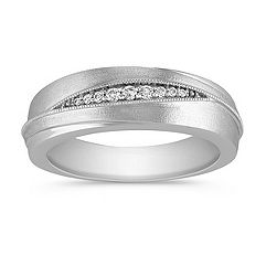 Diamond Wedding Ring with Satin Finish and Milgrain Detailing for Him
