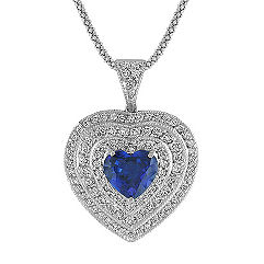 Heart-Shaped Sapphire and Round Diamond Heart Pendant (22 in.)