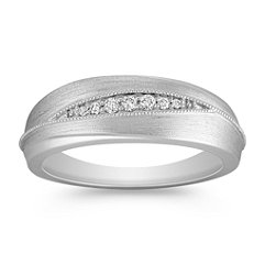 Diamond Wedding Ring with Satin Finish for Her