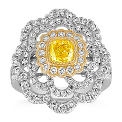 Cushion Cut Yellow Sapphire and Round Diamond Floral Ring in Two-Tone Gold
