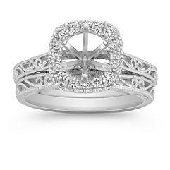 Halo Vintage Diamond Wedding Set with Pave-Setting and Filigree
