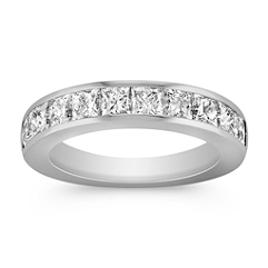 Princess Cut Ten-Stone Diamond Wedding Band with Channel Setting
