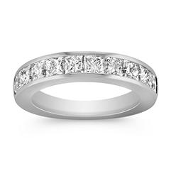 Princess Cut Ten-Stone Diamond Wedding Band with Channel Setting