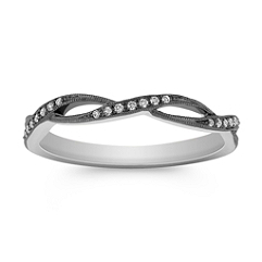 Stackable Infinity Diamond Ring with Black Rhodium