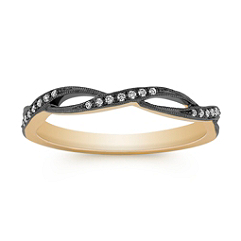 Stackable Infinity Yellow Gold Diamond Ring with Black Rhodium