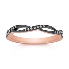 Stackable Infinity Diamond Ring with Black Rhodium in Rose Gold