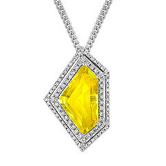 Shield Shaped Yellow Sapphire and Round Diamond Pendant (18 in.)
