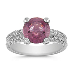 Round Pink Sapphire and Diamond Double Band Ring