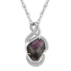 Freeform Ruby and Round Diamond Pendant (18 in.)