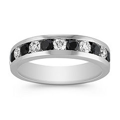 Black Sapphire and Diamond Wedding Band for Him