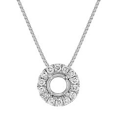 Round Diamond Halo Pendant with Pave Setting (18 in.)
